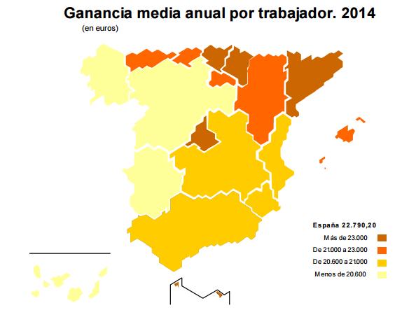 Mapa de ganancia media anual por trabajador en 2014